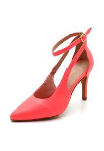 Sapato Scarpin Aberto Salto Alto Fino Em Napa Rosa Salmáo Neon