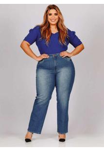 Calça Reta Almaria Plus Size Fact Jeans Azul