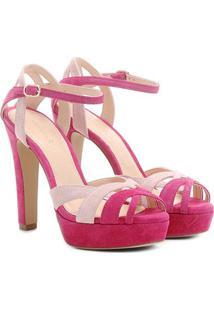 Sandália Couro Shoestock Meia Pata Mix Cores Feminina - Feminino-Rosa