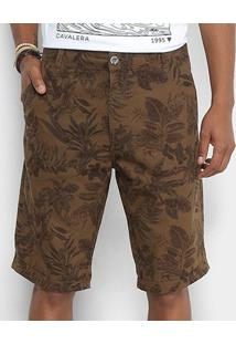 Bermuda Sarja Cavalera Estampada Masculina - Masculino-Jeans