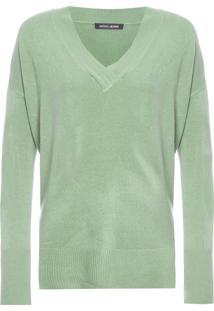 Blusa Feminina Tricot Box Decote V - Verde