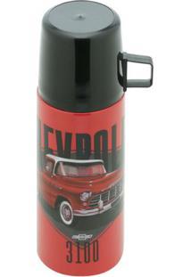Garrafa Térmica Individual Em Inox Com Tampa Gm Chevrolet 3100 Vermelha