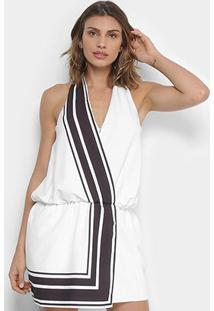Vestido Lança Perfume Evasê Curto Zíper - Feminino-Branco+Preto