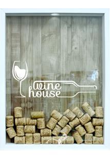 Quadro Porta Rolhas 32X42X4Cm Wine House Branco Ii