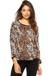 Blusa Dafiti Ontrend Animal Print Bege / Off-White