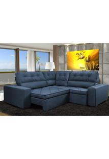 Sofa De Canto Retrátil E Reclinável Com Molas Cama Inbox Austin 2,60M X 2,60M Suede Velusoft Azul