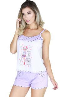 Pijama Curto Bravaa Modas Alça Short Blusinha 011 Lilás