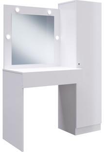 Penteadeira Com Espelho E Armário Multiuso Chanel - Genialflex - Branco