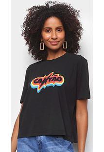 Camiseta Cantão Rainbow Feminina - Feminino-Preto