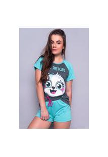 Baby Doll 4 Estações Pijama Preguiça Feminino Manga Curta Estampado Azul