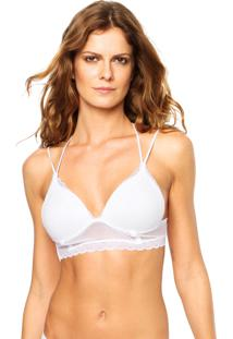 Top Picê Triângulo Cropped Tule Strappy Costas Branco