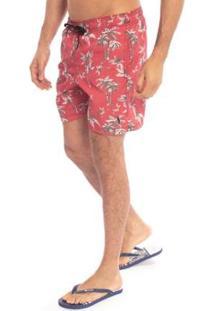 Shorts Aleatory Red Palm Masculino - Masculino-Vermelho