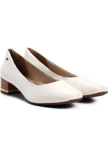 Scarpin Dakota Salto Baixo Bico Quadrado - Feminino-Branco