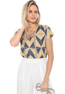 Camiseta Lança Perfume Geométrica Amarela/Azul-Marinho