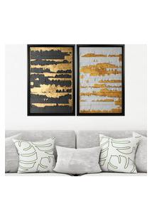 Quadro Love Decor Com Moldura Chanfrada Ouro Descascado Preto - Grande