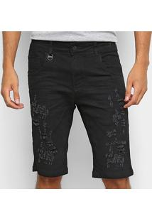 Bermuda Jeans Rock & Soda Puídos Masculina - Masculino