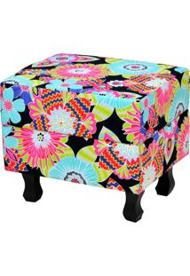 Puff Decorativo Lymdecor Londres Floral Preto