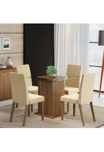 Conjunto De Mesa Com 4 Cadeiras Tais Rustic E Saara