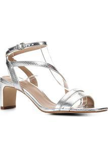 Sandália Shoestock Metalizada Salto Médio Feminina - Feminino-Prata