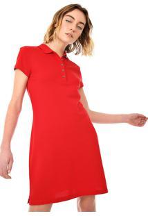 Vestido Polo Tommy Hilfiger Curto Logo Vermelho