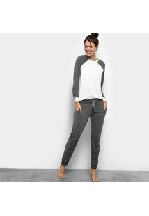 Pijama Lupo Loungewear Feminino - Feminino-Cinza+Branco