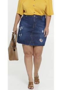 Saia Feminina Jeans Destroyed Plus Size