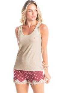 Pijama Curto Regata Estampado Catarina