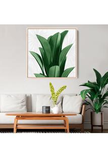 Quadro 50X50Cm Folhas Tropicais Bananeira Canvas Em Moldura Flutuante Filete