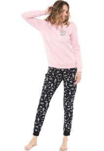 Pijama Malwee Liberta Galáxia Rosa/Preto