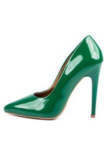 Scarpin Factor Salto Alto - Verde Bandeira