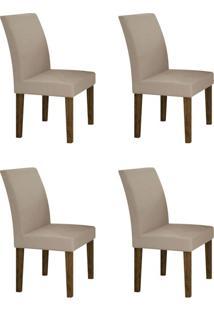 Conjunto Com 4 Cadeiras Olímpia Ipê E Veludo Palha
