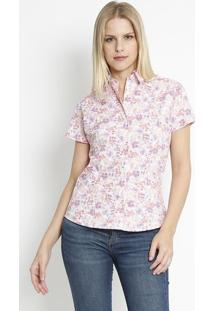 Camisa Floral- Laranja & Roxa- Intensintens