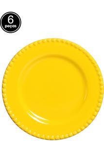 Conjunto 6 Pratos Sobremesa Bolinha Amarelo Real Scalla