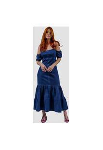 Vestido Jeans Zayon Longuete Azul