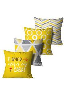 Kit 4 Capas Para Almofadas Decorativas O Amor Mora Em Casa 45X45Cm