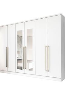 Roupeiro 6 Portas Premium C/ Espelho Neve Tcil Móveis Branco