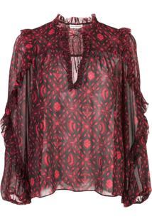 Ulla Johnson Printed Silk Blouse - Rosa