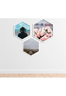 Kit 2 Quadros Com Moldura Hexagonal Tranquility