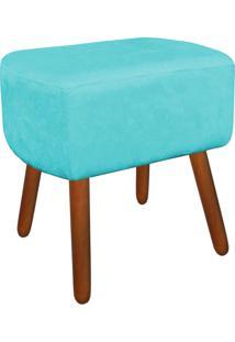 Puff Decorativo Curvo Agatha Suede Azul Turquesa - D'Rossi.