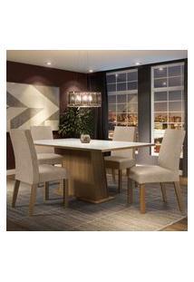 Conjunto Sala De Jantar Madesa Sabrina Mesa Tampo De Vidro Com 4 Cadeiras - Rustic/Branco/Imperial Marrom