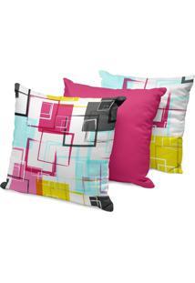 Kit 3 Capas Para Almofadas Decorativas Arabescos Coloridos 45X45Cm - Multicolorido - Dafiti
