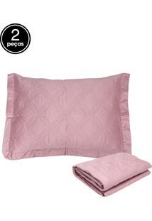 Kit 2Pçs Colcha Solteiro Corttex Living Art Premium Rosa