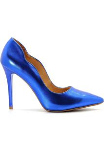 Scarpin Curvas Metalizado Salto Alto Fino - Feminino-Azul
