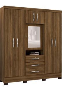 Guarda-Roupa Casal Com Espelho Capelinha 7 Pt 3 Gv Marrom