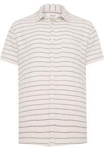 Camisa Masculina Rustic Pin Stripe - Bege