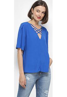 Blusa Colcci Com Tiras E Recortes Feminina - Feminino-Azul