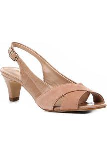 5e2e910104 ... Peep Toe Couro Shoestock Salto Baixo Slingback - Feminino-Nude