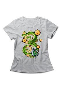 Camiseta Feminina Shenlong Pixel Cinza