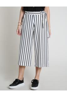 Calça Feminina Bbb Pantacourt Listrada Com Bolsos E Faixa Para Amarrar Branca