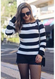 Blusa Tricot Listrada Costas Com Detalhe Vazado